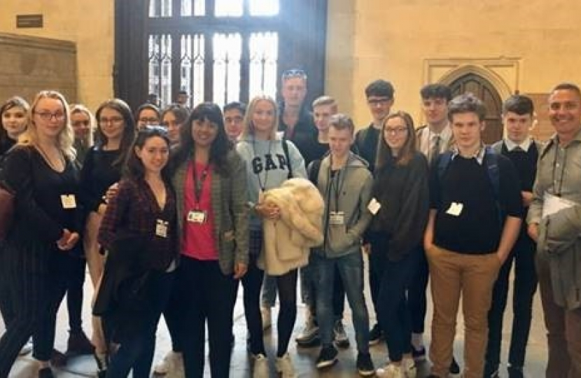 Nus Ghani with students in Westminster