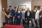 Nus Ghani with students from all across Wealden, as part of her 'Ghani Ambassador Scheme'.